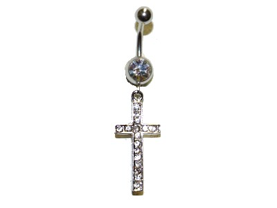 Bejewellled Cross Belly Bar