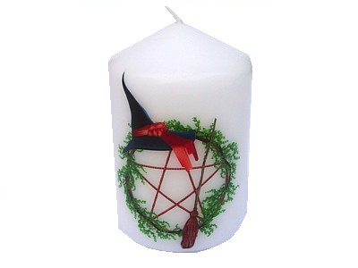 10cm Pentagram Witches Hat & Broom Candle
