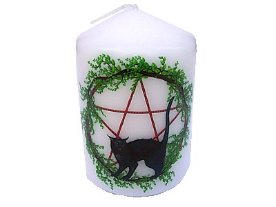 10cm Pentagram and Cat Candle (B)