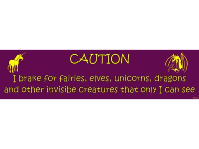 Caution I brake for Fairies Bumper Sticker