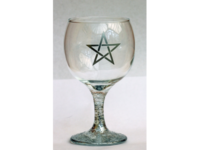 Pentagram Glass Chalice Silver Finish