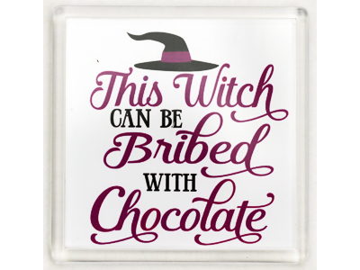 10cm Coaster - Witch Bribed with Chocolate