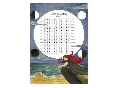 Flying Witch Moon Calendar 2018