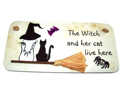 The Witch and her cat live here 3D Witchy Sign