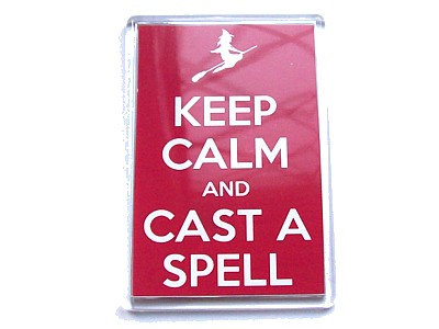 Keep Calm and Cast a Spell Magnet Flying Witch