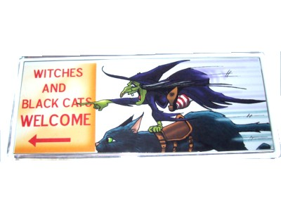 Witches & Black Cats Welcome Magnet