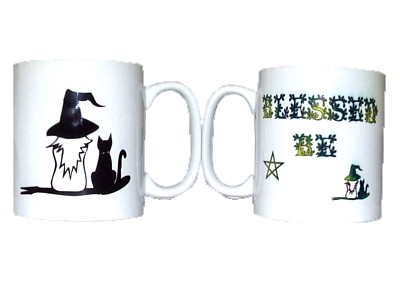Blessed Be Witch & Cat Mug (Wrap)
