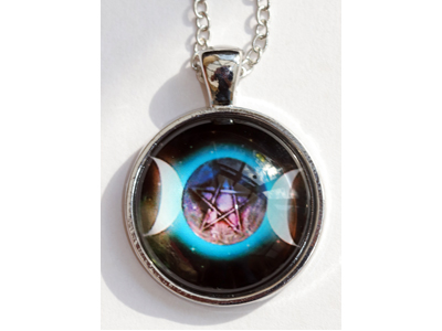 Triple Moon Pentacle Enamelled Pendant with chain