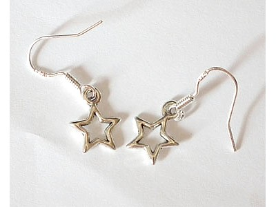 Pentagram (Star) Tibetan Silver Earrings