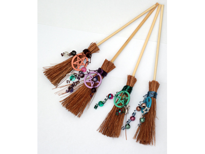 Hedgewitch Broomstick for Protection with Coloured Pentacles