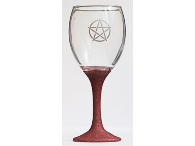 Pentacle Glass Chalice - Red