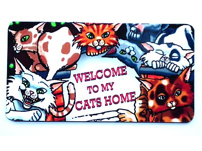 Welcome to my Cat's Home Wood & Fabric Witchy Sign