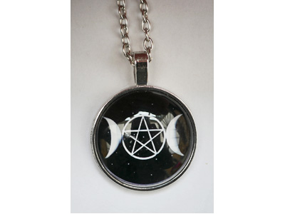 Triple Moon Pentacle Pendant with chain