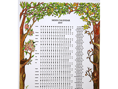 2019 Four Seasons A4 Moon Calendar - Click Image to Close