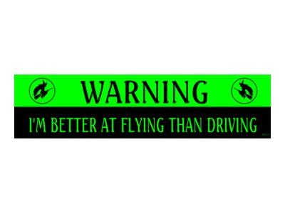 Warning! I'm Better at Flying than Driving Bumper Sticker