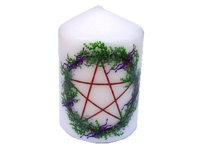 10cm Pentagram & Purple Ribbons Candle