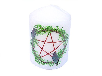Pentagram and Crow Candle