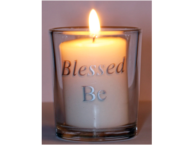 Blessed Be (Silver) Glass Altar Votive Holder