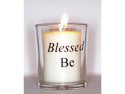 Blessed Be (Black) Glass Altar Votive Holder