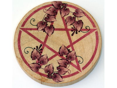 Altar Wooden Tile - Pentagram Leaves