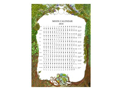 Green man & Woman Moon Calendar 2018