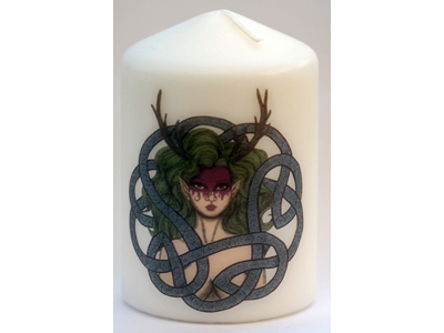 10cm Celtic Green Woman Candle