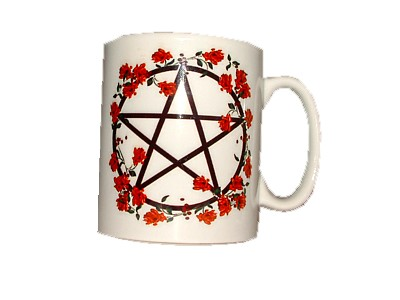 Pentacle with Red Flowers Mug