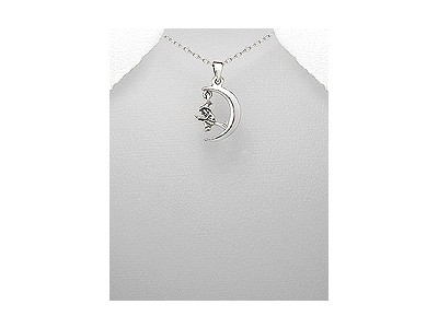Witch in Moon Silver Pendant