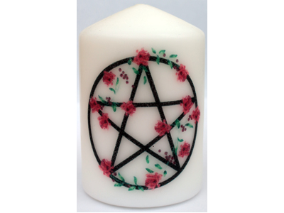 Pentacle with Roses Candle NEW SIZE see description