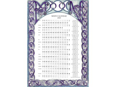 2020 Celtic A4 Moon Calendar