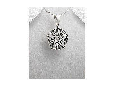Decorative Pentacle Silver Pendant
