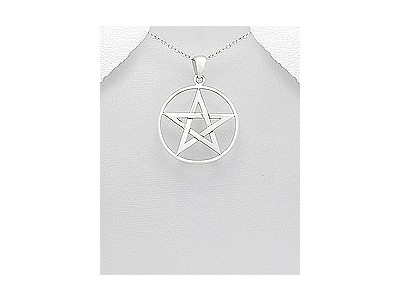Large Pentacle Silver Pendant