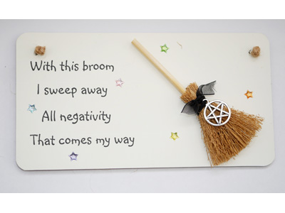 Pentacle 3D Hanging Witchy Sign with Broom and Charm