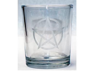 Pentacle (Etched) Glass Altar Votive Holder