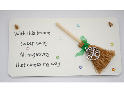 Tree of Life 3D Hanging Witchy Sign with Broom and Charm